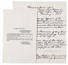 (MILITARY--CIVIL WAR.) NAVAL. The original manuscript General order No. 7 together with the printed order.