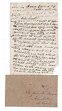 "(MILITARY--CIVIL WAR.) CONSCRIPTED SLAVES. Manuscript letter written by ""Jackson,"" a slave to his master Dr. John H. Furman."
