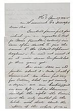 (MILITARY--CIVIL WAR.) Soldier's Letter, sending $100 to be kept for Moses Kemble colored; in case of his death, to be given to the Col