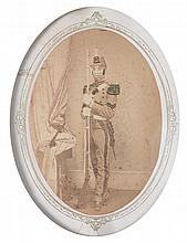 (MILITARY--INDIAN WARS PERIOD.) PENNSYLVANIA NATIONAL GUARD. full-length oval albumen portrait of a black Pennsylvania National Guard s