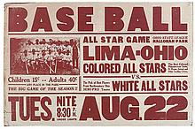 (SPORTS--BASEBALL.) BLACK LEAGUES. BASEBALL. All Star Game. Lima Ohio Colored All Stars.