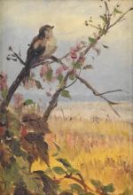 FIDELIA BRIDGES Bird on a Flowering Branch.