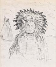 OSCAR EDMUND BERNINGHAUS Portrait of a Native American Chief.