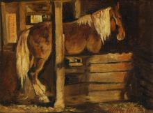 GEORGE LUKS Horse in a Stable.