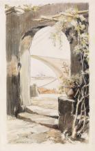 EVERETT SHINN View Through a Stone Arch to the Sea.