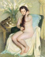 JOHN KOCH Nude with Cat.