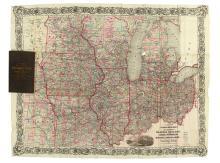 COLTON, G.W. & C.B. Colton's New Railroad Map of the States of Ohio, Michigan, Indiana, Illinois, Missouri, Wisconsin & Iowa.