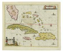 JANSSON, JAN. Insularum Hispaniolae et Cubae, Cum Insulis circumjacentibus. . .