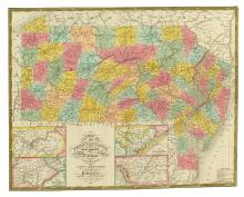 MITCHELL, SAMUEL AUGUSTUS. Map of Pennsylvania New Jersey and Delaware Compiled From the Latest Authorities.