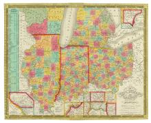 MITCHELL, SAMUEL AUGUSTUS. Map of the States of Ohio, Indiana and Illinois with the settled part of Michigan.