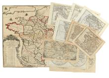 (WORLD, CONTINENTS, COUNTRIES.) Group of 11 engraved miniature maps,
