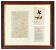 AUDUBON, JOHN JAMES. Autograph Manuscript, unsigned,