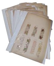 (FASHION--EMBROIDERY.) Group of seventeen leaves from an embroidery sample album,