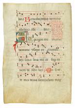 (MANUSCRIPT LEAF.) A 15th century Latin choirbook vellum leaf,