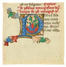 (MANUSCRIPT LEAF.) Manuscript leaf fragment with illuminated initial letter