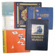 (TOBACCO--CIGARETTE CARDS--TRANSPORTATION.) Group of five German albums containing over 1250 pieces,