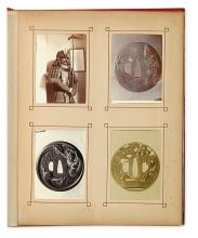 (TSUBA--JAPANESE SWORD GUARDS.) Album containing 45 mounted photograph studies of Tsuba,