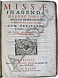 CATHOLIC LITURGY.  Missae in agenda defunctorum tantum deservientes Ex Missali Romano recognito desumptae.  1637