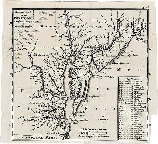 BLOME, ROBERT. Nouvelle Carte de la Pensylvanie, Maryland, Virginie et Nouvelle Jarsey.