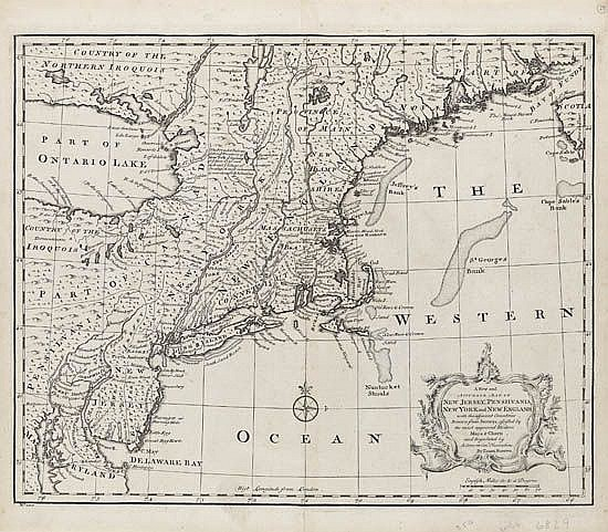 BOWEN, EMANUEL. A New and Accurate Map of New Jersey, Pennsilvania, New York, and New England.