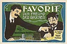 EMIL RANZENHOFER (1864-1930). FAVORIT / DER FREUND DER RAUCHER. 1902. 24x37 inches, 63x95 cm. Gesellschaft fur Graphische Industrie, Vi