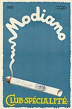 ZOLTAN KONYA (1891-?). MODIANO / CLUB - SPECIALITE. 1928. 37x24 inches, 94x63 cm. Intezet, Budapest.