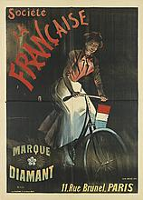 GEO. WEISS (1861-?). SOCIETE LA FRANCAISE / MARQUE DIAMANT. Circa 1895. 63x45 inches, 160x115 cm. P. Dupont, Paris.