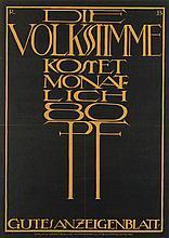 R.B.(DATES UNKNOWN). DIE VOLKSSTIMME. Circa 1915. 34x24 inches, 87x61 cm. W. Pfannkuch, Magdeburg.