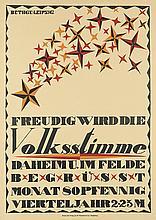 ROLF BETHGE (DATES UNKNOWN). VOLKSSTIMME. Circa 1920. 35x25 inches, 90x64 cm. W. Pfannkuch, Magdeburg.