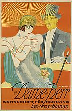 PAUL RIEGER (DATES UNKNOWN). DIE DAME DER HERR. 1925. 37x24 inches, 94x61 cm. Stahle & Friedel, Stuttgart.