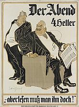 CARL JOSEF POLLAK (1877-1937). DER ABEND. Circa 1900. 49X37 inches, 126x94 cm. Gesellschaft fur Graphische Industrie, Vienna.