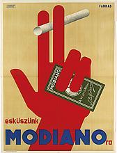 ANDREAS FARKAS (DATES UNKNOWN). ESKUSZUNK / MODIANO - RA. 1929. 49x37 inches, 125x95 cm. Athanaeum, Budapest.