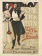 MAURICE DE LAMBERT (1873-1952). LE QUARTIER LATIN. 1898. 31x23 inches, 79x60 cm. Edw. Ancourt, Paris.
