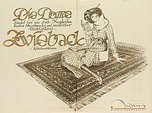ERNST DEUTSCH (1883-1938). DIE DAME / ZWIEBACK. 1919. 33x45 inches, 84x114 cm. [Dryden, Trarnerhof, Vienna.]