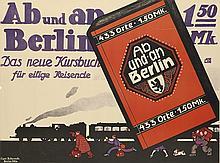 JOE LOE (JOE LOEWESNTSEIN, DATES UNKNOWN). AB UND AN BERLIN / DAS NEUE KURSBUCH. 27x36 inches, 69x92 cm. Curt Behrends, Berlin.