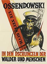 ALBERT FUSS (1889-1969). OSSENDOWSKI / EIN NEUES BUCH. 1924. 41x30 inches, 104x77 cm. Wusten, Frankfurt.