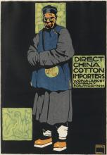 LUDWIG HOHLWEIN (1874-1949). DIRECT CHINA COTTON IMPORTERS. Circa 1910. 29x20 inches, 75x52 cm. G. Schuh & Cie., Munich.