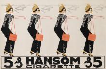 ERICH MULLER (DATES UNKNOWN). HANSOM CIGARETTE. Circa 1912. 17x27 inches, 45x70 cm.