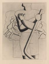 WILLI BAUMEISTER (1889-1955). [LES JOUEURS DE HOCKEY.] Collotype. 1929. 19x15 inches, 50x40 cm.