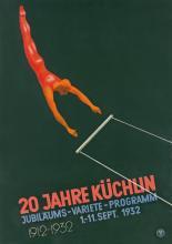 DESIGNER UNKNOWN. 20 JAHRE KÜCHLIN. 1932. 50x35 inches, 127x90 cm. Wassermann, [Basel.]