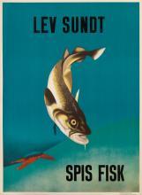ANDRÉ RAS (DATES UNKNOWN). LEV SUNDT SPIS FISK. Circa 1938. 33x24 inches, 85x63 cm. Statens Annonce & Reklamebureau, [Copenhagen.]