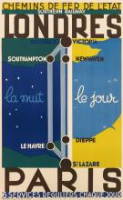 DESIGNER UNKNOWN. LONDRES / PARIS / CHEMINS DE FER DE L'ETAT / LA NUIT / LE JOUR. 39x24 inches, 158x62 cm. Novia, Paris.