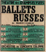 DESIGNER UNKNOWN. BALLETS RUSSES DE MONTE - CARLO / THEATRE DES CHAMPS - ELYSEES. 1934. 37x33 inches, 94x83 cm. Watelet, Paris.