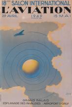 PAUL COLIN (1892-1986). 18ÈME SALON INTERNATIONAL DE L'AVIATION. 1949. 23x15 inches, 59x39 cm. Bedos & Cie., Paris.