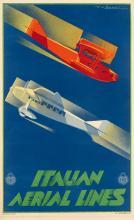UMBERTO DI LAZZARO (DATES UNKNOWN). ITALIAN AERIAL LINES. Circa 1933. 39x24 inches, 100x61 cm. I.G.A.P., Rome.