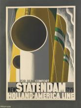 ADOLPHE MOURON CASSANDRE (1901-1968). NEW STATENDAM / HOLLAND - AMERICA LINE. 1928. 40x30 inches, 102x77 cm. Nijgh & Van Dittmar, Rotte