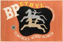 HOOPER ROWE (DATES UNKNOWN). BP ETHYL FOR ANTI - KNOCK / CONTROLS HORSE - POWER. 30x44 inches, 75x112 cm.