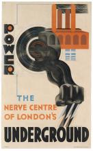 EDWARD MCKNIGHT KAUFFER (1890-1954). POWER / THE NERVE CENTRE OF LONDON'S UNDERGROUND. 1931. 39x24 inches, 99x61 cm. Vincent Brooks, D
