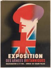 ABRAM GAMES (1914-1996). EXPOSITION DES ARMEES BRITANNIQUES. 1945. 32x23 inches, 79x60 cm. Chromoworks Ltd., London.