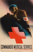 ABRAM GAMES (1914-1996). COMMANDO MEDICAL SERVICE. 1945. 30x20 inches, 76x50 cm.